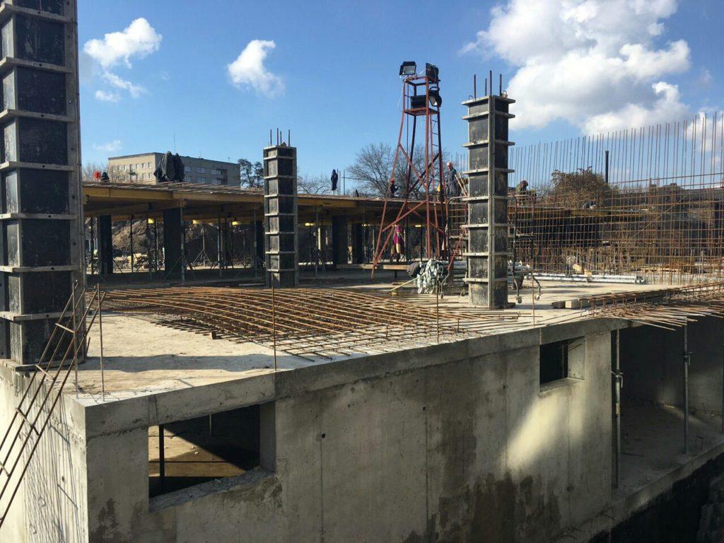 5 секция. Армируем и бетонируем перекрытие зоны центрального холла и техэтажа