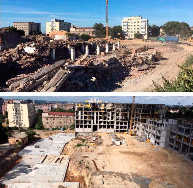 Ровно год назад мы начали строительство. Секция Комфорт в июле 2016 и в июле 2017.