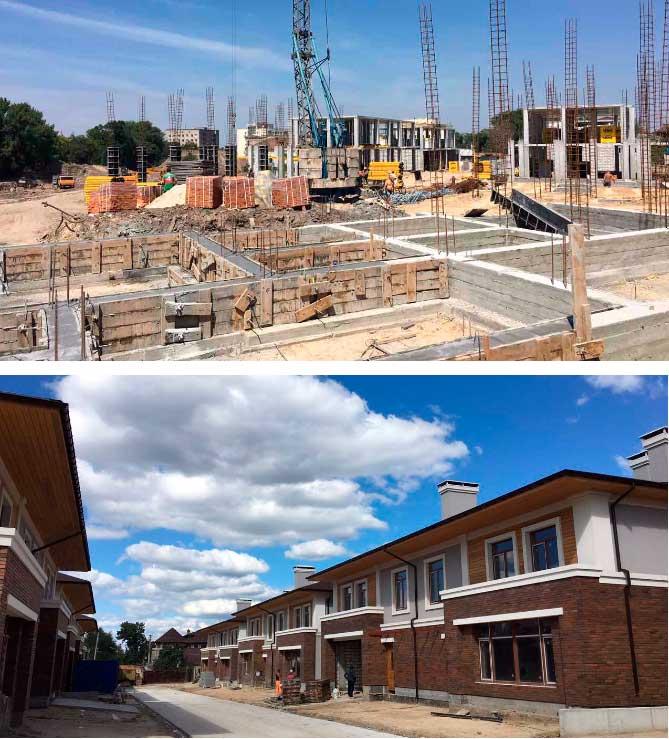 Ровно год назад мы начали строительство. Улицы таунхаусов в июле 2016 и в июле 2017.